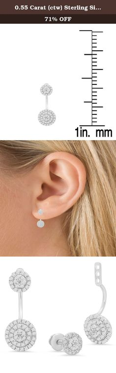 0.55 Carat (ctw) Sterling Silver Round White Diamond Ladies Stud Earrings Jackets Set 1/2 CT. These lovely stud earring feature 0.55 white diamonds in prong-setting. All diamonds are sparkling and 100% natural. All our products with FREE gift box and 100% Satisfaction guarantee. SKU # K4237.