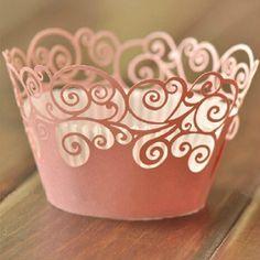 50Pcs Wolke Design Style Pearly Papier Vine Spitze Cup Cake Wrappers Dekoration Rosa: Amazon.de: Küche & Haushalt