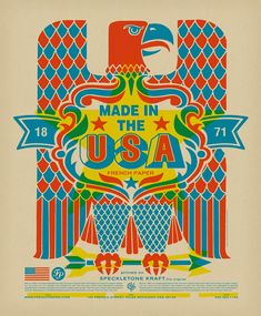 Made in USA Poster printed on Speckletone, Oatmeal