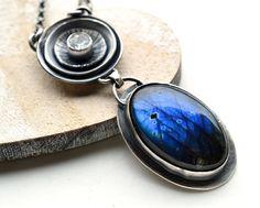 Northern Star, Labradorite Necklace,Topaz, Unique,Handmade, Gemstone, Metalwork,  Eco Friendly via Etsy