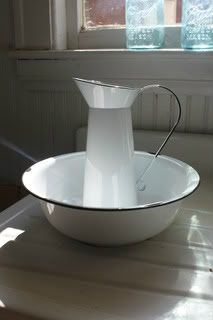 Vintage Inspired White Enamel Pitcher and Bowl Set