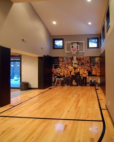 How awesome is this basketball court? Tag friends who would want this in their home! Credit to Kaufman Construction Design and Build (Basketball Court) Home Basketball Court, Basketball Room, Sports Court, Basketball Shoes, Basketball Legends, Basketball Jersey, Basketball Camps, Basketball Scoreboard, Basketball Design