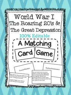 Social Studies Matching Card Game covering World War I, The Roaring 20's, and The Great Depression.  Perfect for 5th Grade Georgia Teachers!!! Paid