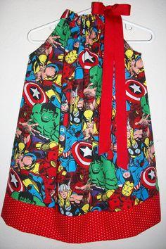 Pillowcase Dress SUPERHERO Avengers Spiderman Hulk Captain America baby toddler girl on Etsy, $18.00