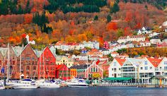 Autumn colours surround the Norwegian city of Bergen and it's old centre, Bryggen – a UNESCO World Heritage site. The city of Bergen was founded in 1070. The area of the present Bryggen constitutes the oldest part of the city. The picture was taken by John & Tina Reid.