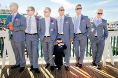Grey Suits with a little mini groomsmen | Roche Harbor Weddings | Clane Gessel Photography #weddings #groom #grey