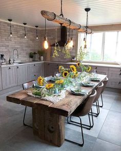 I know this is an interior kitchen, but this would be absolutely gorgeous for an outdoor kitchen❣️❣️ Boho Chic Interior Kitchen Designs and Decor Ideas Cozy Kitchen, Kitchen Decor, Dining Area, Dining Table, Dining Room, Boho Chic Interior, Budget Home Decorating, Style At Home, Interior Design Kitchen