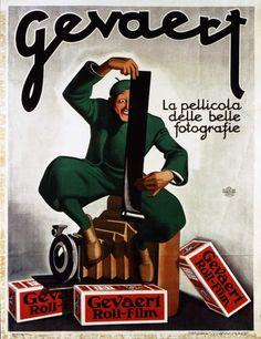 Publicité Gevaert, années 30, par l'italien Gino Boccasile. #photographie #publicité #gevaert #agfagevaert