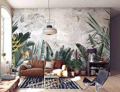 bedroom wallpaper trends 2020 / wallpaper trends for 2020 Cafe Interior Design, Interior Walls, Paradise Wallpaper, Wall Design, House Design, Tropical Interior, Unique Wallpaper, Wall Murals, Wonderwall