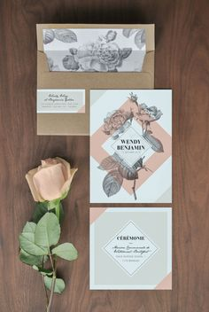 Graphics designed for my own wedding which include:Invitations, envelope liners, address stickers, menus, name cards, table numbers and seating chart.