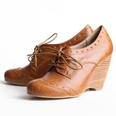 brown leather boot wedges