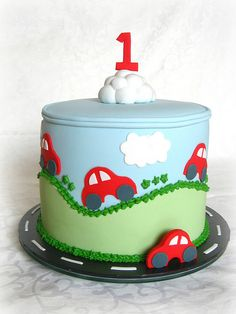 Birthday Cake Idea, use car from first pic with 2 on front instead of cloud and number. Use rainbow cake inside. Baby Cakes, Beautiful Cakes, Amazing Cakes, Fondant Cakes, Cupcake Cakes, Car Cakes For Boys, Super Torte, Rodjendanske Torte, 2 Birthday Cake