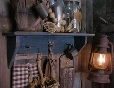 Sweet Liberty Homestead primitive wood shelf. Great for displaying old pickle jars with gourds and dried okra. Display an old farm basket along with seed bags, antique barn lamp and make do grater!!! Fun stuff!