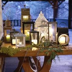Christmas lights are sure to illuminate your holiday spirit! Decorate your home this season with our creative and classic outdoor lighting solutions that can on Antique Lanterns, Candle Lanterns, Ideas Lanterns, Porch Lanterns, Fall Lanterns, Lantern Centerpieces, Hurricane Lamps, Lanterns Decor, Antique Lamps