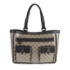 Gucci Women's Beige Coated Canvas Leather Trimmed Guccissima Print Tote Shoulder Handbag