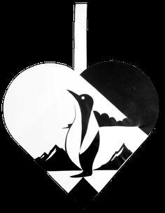 Pingvin Julehjerte | Julehjertedesign.dk: skabeloner til flotte og unikke julehjerter til juletræet. Traditional Danish Christmas hearts for unique paper art.