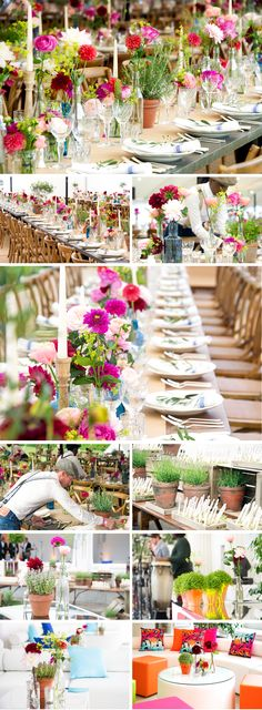 Summer flowers and creative use of coloured glass really bring this table to life. Great use of terracotta pots with herbs in which add to the summer garden theme Tipi Wedding, Wedding Reception Decorations, Wedding Themes, Our Wedding, Wedding Flowers, Wedding Centrepieces, Flowers London, Luxury Flowers, Same Day Flower Delivery