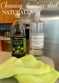Rachel's Nest: Cleaning stainless steel appliances: Many say this is the best way to clean stainless steel. Use olive oil or mineral oil to make them look like new! I HATE the way vinegar smells but this actually works pretty well Homemade Cleaning Products, Cleaning Recipes, House Cleaning Tips, Natural Cleaning Products, Cleaning Hacks, Cleaning Crew, Cleaning Solutions, Cleaning Supplies, Cleaning Stainless Steel Appliances