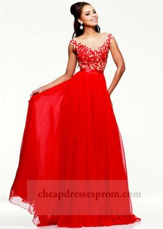 Long Red Lace Sheer High Neck Prom Dreses 2014