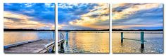 Buy Beach Art online. Great for wall - Beach Canvas Print of an old jetty and a sunset in a set of 3 for your Beach House..