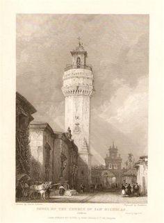 Córdoba, Tower of the Church of San Nicholas. Grabado de 1835 de un dibujo de David Roberts,