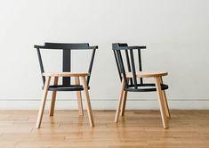 diseño de perforación reimagines la silla tradicional windsor con una versión de desplazamiento