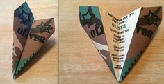 Custom US Army Green Camo Paper Airplane Invitation. Personalize Verbiage, Color, Font & More! Perfect for Birthdays, Promotions, Etc!