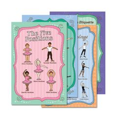 ballet posters include, five ballet positions, 5 positions, arabesques, ballet body facings, and ballet etiquette for class.