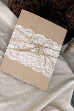 Wedding Invitation, Rustic lace, rustic invitation, wedding invitations, kraft invitation, country invitation, barn wedding, unique invite by SweetSights on Etsy https://www.etsy.com/listing/266278157/wedding-invitation-rustic-lace-rustic