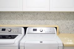 Laundry room:  tile on wall; shelves; cabinets!  Wow!  It's Like A Cable Knit Sweater On Our Wall | Young House Love