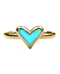 Mini Heart Enamel Ring in Turquoise