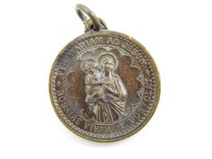 Antique Virgin Mary - Sacred Heart of Jesus Catholic Medal - Apostleship of Prayer Religious Charm - R7 by LuxMeaChristus on Etsy