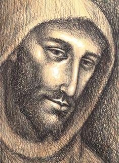 St Francis Assisi, San Francisco, Catholic Saints, Religious Art, Spirituality, Faith, Woodburning, Drawings, Illustration