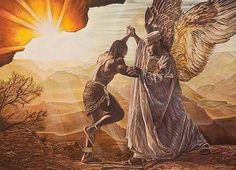 Jacob wrestles with the angel, he prevails, then his name changed to Israel.   Power with God and with men.