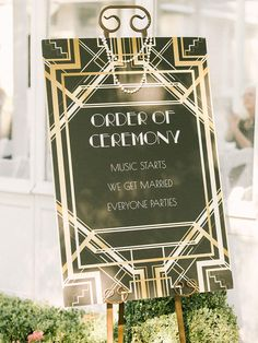 For a vintage or art-deco wedding, embellished borders and fancy fonts channel the old-world charm of retro labels.