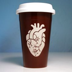 This reusable anatomical heart coffee cup comes in black or java brown. The double-walled ceramic keeps your coffee hot, and your hands cool. Also available as a pendant! Ceramic travel coffee mugs -