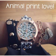 Arm Party Arm Candy pictures Geneva Leopard-Print Strap Watch and bracelet love Guess fb.me/3d6r2esea