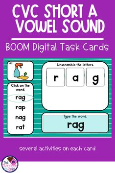 Are you looking for an engaging CVC short A words worksheet free activity set? This digital BOOM task card set is the answer to your search. Skills included are reading, unscrambling letters by sounds, and spelling! This fun set is a perfect literacy center for your kindergarten or first grade students. It is also helpful as an intervention tool for struggling readers. It can be used at home or school. BOOM cards are self checking and offer instant feedback to your students. {1st grade}… Short Vowel Activities, Vocabulary Activities, Free Activities, Teaching Phonics, Teaching Tips, Kindergarten Phonics, Literacy, Student Learning, Fun Learning