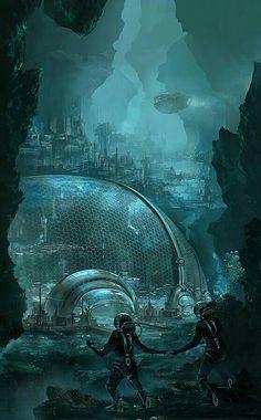 underwater sci fi city / fantasy art