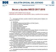 #BecasMECD 2017-2018 al estudio. Publicado los Requisitos de umbrales de renta, tipos y cuantías de las #ayudas Renta, Studio