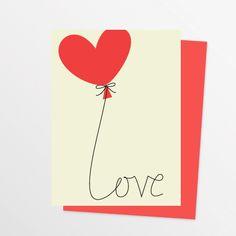 Modern Heart Balloon Love Note Card
