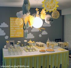 You Are My Sunshine PARTY | Celebrate Every Day With Me - Streamers hanging down from table, Decorate high chair, Fluffy Clouds with paper sun