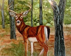 Forest Forager in alcohol ink by me, Laurie Henry. Copyright 2013.