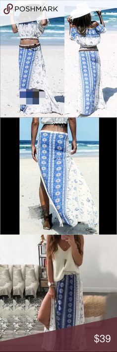 """Fall Boho patterned gypsy  maxi skirt It's so perfectly current for 2016-2017. Free People and Spell have both done takes on this kind of romper, perfectly suited for any season. This unique skirt is super chic and pretty for your spring break and summer trip to the wild beach or desert. Size M: length: 37.5, butt 52.7"""" waist stretch from22.8-45.6. Lined length: 11"""". Size XL length: 37.5, butt 49.5, waist stretch from. 26-48.8"""" Lined length: 11"""".. Material: rayon Boutique  Skirts Maxi"""