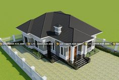 Modern three-bedroom single-storey house - Ulric Home Bungalow House Design, Small House Design, House Designs In Kenya, 3d House Plans, Hip Roof, My House, Building A House, Floor Plans, Mansions