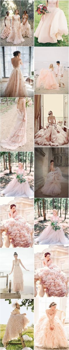 http://www.siamtrick.com Love, Love, LOVE the colors! ~ 15 peach and blush wedding dresses via Deer Pearl Flowers