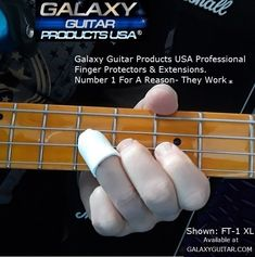 For Musicians of any instrument. If you have a severe finger injury we got you covered. Bass Players now have a Strong Professional Finger Guard that can protect from pain & add missing length. The Patented Galaxy FT-1 XL Finger Protector & Extension. Visit our website for more information Guitar Fingers, Guitar Rack, Unique Guitars, Racking System, Guitar Accessories, Bass, Musicians, Strong, Website