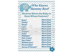 "Boy elephant ""Who Knows Mommy Best"" printable shower game - See which guest knows mommy best! $5.00 #blue #elephant #baby #shower #boy #game #printable #grey"