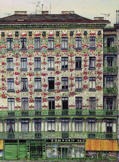 Майолик Хаус в Вене - доходный дом 1898г Отто вагнер