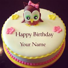Cute And Sweet Birthday Cake With Your NameWrite Name On For Friends